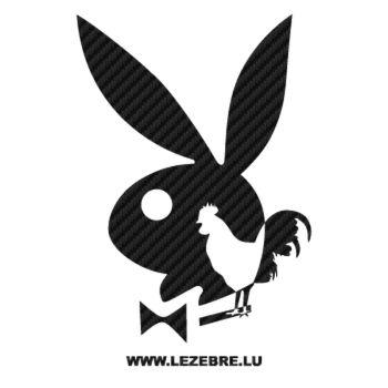 Sticker Carbone Playboy Bunny Coq Français