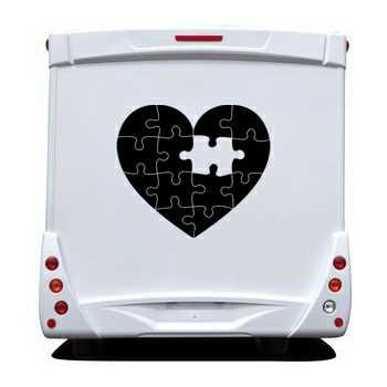 Sticker Camping Car Coeur Puzzle