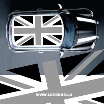 Sticker Toit MINI Union Jack Noir & Gris (sans fond)