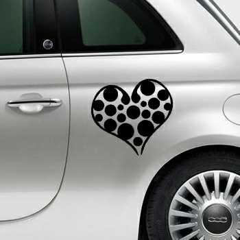 Heart Balls Fiat 500 Decal