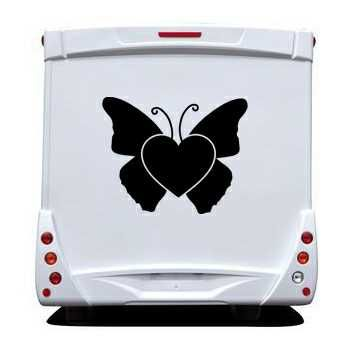 Butterfly Heart Camping Car Decal