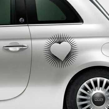 Heart Rays Fiat 500 Decal