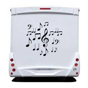 Kit Autocollants Camping Car Déco Notes de Musique