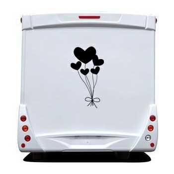 Sticker Camping Car Ballons Coeurs