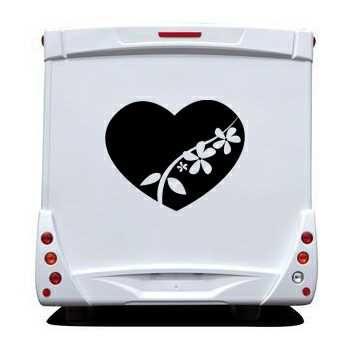 Sticker Camping Car Coeur Fleur