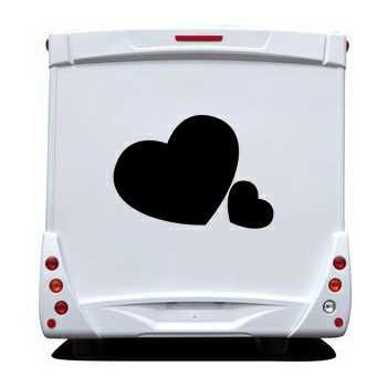 Sticker Camping Car Coeurs Amoureux
