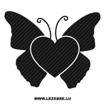 Butterfly Heart Carbon Decal