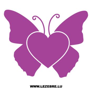 Sticker Deko Herz Schmetterling