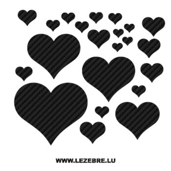Hearts Carbon Decal Set