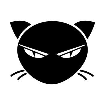 Sticker le chat noir en face