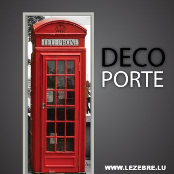 English red phone booth door decal