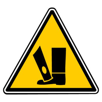 Sticker danger ecrasement pieds