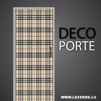 Burberry pattern door decal