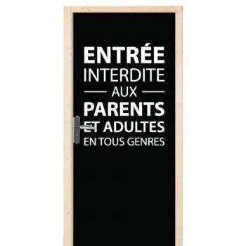 Sticker Déco Porte Enfant Entrée Interdite Aux Parents...