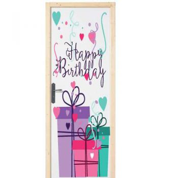 Sticker déco porte Happy Birthday