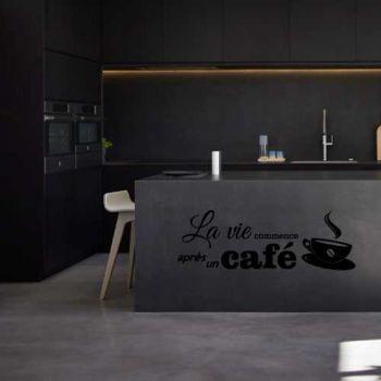 Sticker La vie commence après un café