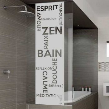 Bain Zen shower door decal