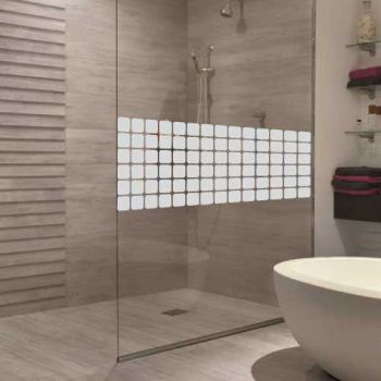 Square design shower door decal