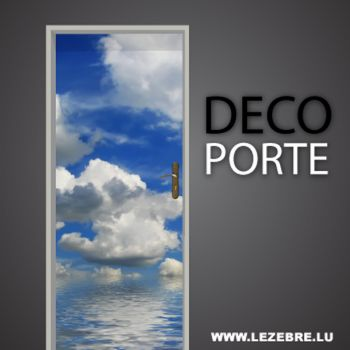 Clouds door decal
