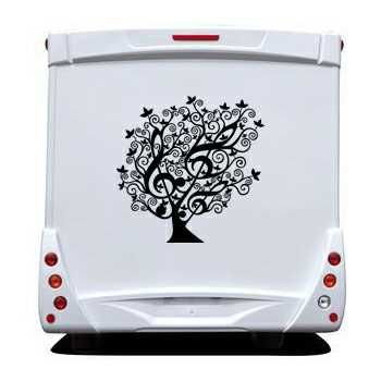 Sticker Camping Car Arbre Floral Clé de Sol Design
