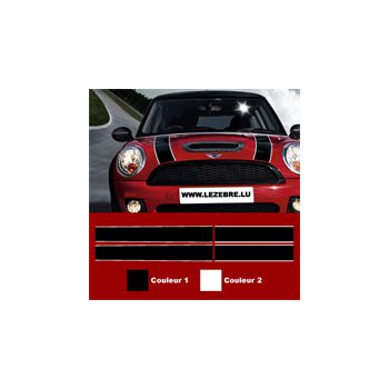 Mini Cooper Hood / Trunk stripes decals set