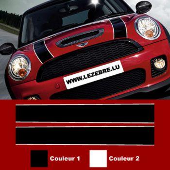Mini Cooper hood stripes decal set