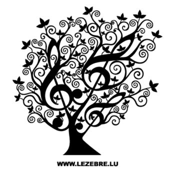 Floral Tree Treble Clef Design Decal