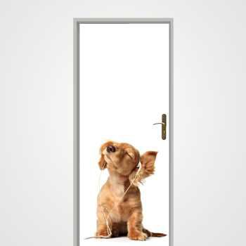 Dog listen to music door decal