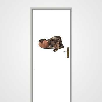 Dog with rubgy ball door decal