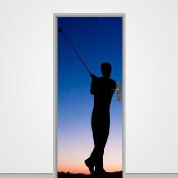 Sticker déco porte Joueur Golf