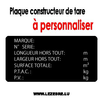 Constructor Plate Tare / Trailer Label Decal