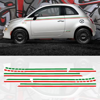 Fiat 500 Italian Side Stripes Decal Set