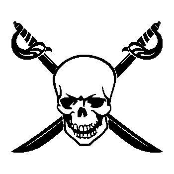 Crossed Swords Skull Decal 24