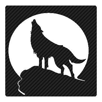 Sticker Carbone Loup Hurlant à la Lune