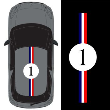 Car Roof France Stripe Number 1  Decal