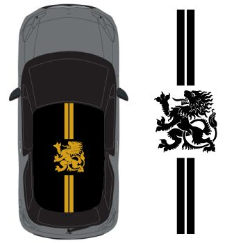 Sticker Toit Auto Bandes Lion Royal