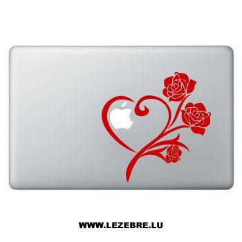 Sticker Macbook Heart & Roses