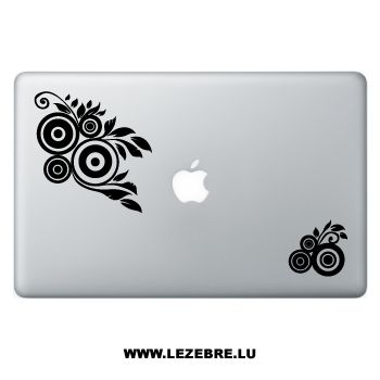 Sticker Macbook Fleurs Cercles Design