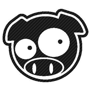 Sticker Karbon Subaru Schwein Manga Mascotte 2