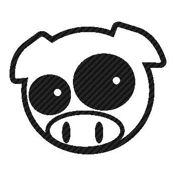 Sticker Karbon Subaru Schwein Manga Mascotte