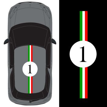Car Roof Italian Stripe Number 1  Decal