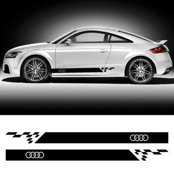 Car side Audi logo stripes stickers set
