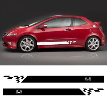 Kit Stickers Bandes Bas de Caisse Honda Logo