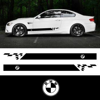 Car side BMW logo stripes stickers set