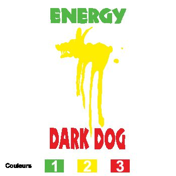 Stickers Energy Drink Dark Dog Logo Tricolor