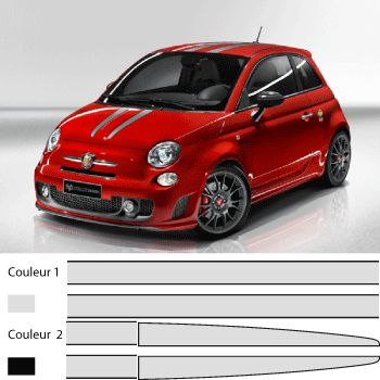 Fiat 500 abarth-695, Ferrari Tributo style- kit for all the car stripe Decal