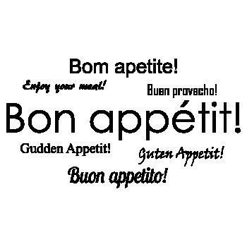 Sticker Deko Bon appétit! en plusieures langues (PT, EN, ESP, FR, LUX, ALL et IT)