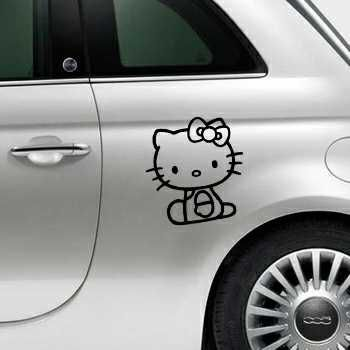 Sticker Fiat 500 Deco Hello Kitty Assis