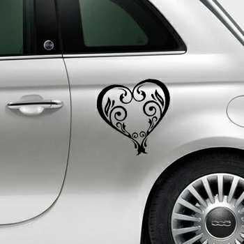 Vintage Heart Fiat 500 Decal