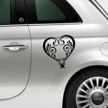 Sticker Fiat 500 Deko Herz vintage